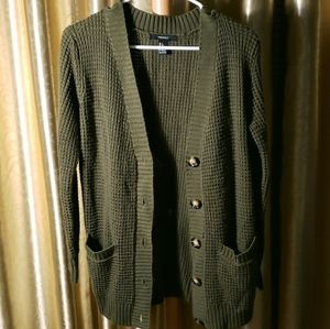 Forever 21 Forest Green Small Knit Cardigan